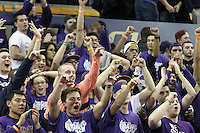 JAN 1, 2016:  Washington fans celebrate in the stands during second half action against UCLA.  Washington defeated #25 ranked UCLA 96-93 in double overtime at Alaska Airlines Arena in Seattle, WA.