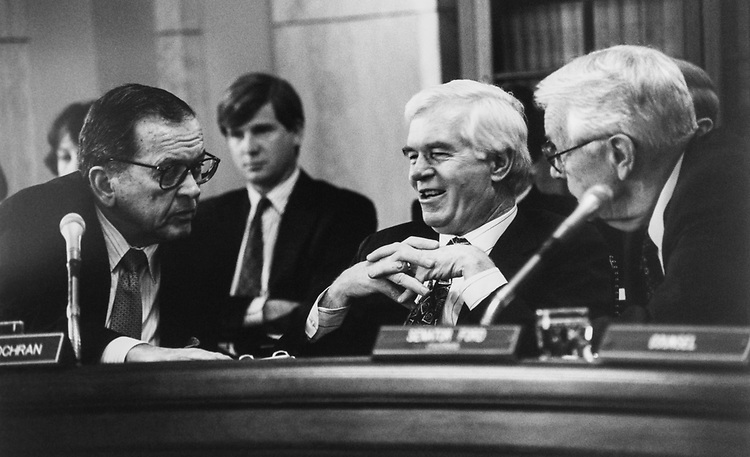 Sen. Ted Stevens, R-Alaska, Sen. Thad Cochran, R-Miss., and Sen. Wendell H. Ford, D-Kent., during Senate Rules hearing on Feb. 24, 1994. (Photo by Maureen Keating/CQ Roll Call via Getty Images)