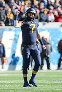 Morgantown, WV - November 10, 2018: West Virginia Mountaineers quarterback Will Grier (7) celebrates after throwing a touchdown during the game between TCU and WVU at  Mountaineer Field at Milan Puskar Stadium in Morgantown, WV.  (Photo by Elliott Brown/Media Images International)