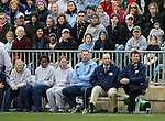3 December 2006: North Carolina head coach Anson Dorrance (r) with (from right) assistant coach Bill Palladino, goalkeeping coach Chris Ducar, Sterling Smith, Jaime Gilbert, and Elizabeth Guess. The University of North Carolina Tarheels defeated the University of Notre Dame Fighting Irish 2-1 at SAS Stadium in Cary, North Carolina in the NCAA Division I Women's College Cup championship game.