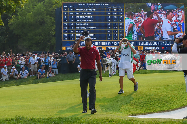 Tiger Woods (USA) celebrates his birdie putt on 18 during 4th round of the 100th PGA Championship at Bellerive Country Club, St. Louis, Missouri. 8/12/2018.<br /> Picture: Golffile   Ken Murray<br /> <br /> All photo usage must carry mandatory copyright credit (© Golffile   Ken Murray)