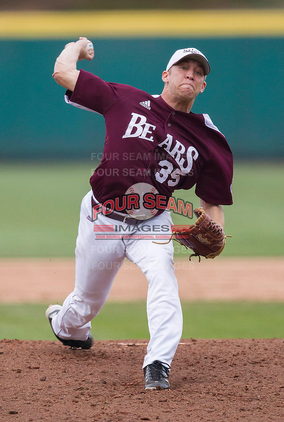 Grant Gordon (35) of the Missouri State Bears delivers a pitch during a game against the Northwestern Wildcats at Hammons Field on March 9, 2013 in Springfield, Missouri. (David Welker/Four Seam Images)