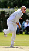 Cricket Scotland Scottish Cup - Uddingston CC V Dunfermline CC at Arbroath CC - veteran Uddy bowler Paul Hoffman (former Scotland bowler - now 41 years old) produced a top bowling spell that produced 3 wickets for 18 off 10 (pse check) - Picture by Donald MacLeod - 20.08.11 - 07702 319 738 - www.donald-macleod.com