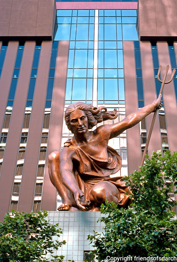 Michael Graves: Portland Building--Portlandia. Based on City Seal, 36 Ft. high, 6 1/2 tons, hammered copper by Raymond Kaskey. Dedicated October, 1935.  Photo '86.