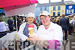 Enjoying Dingle Food festival on Saturday were from left: Alain Bijou, Margaret McCarthy (Kenmare Ice-cream) at the Dingle Food Fair..