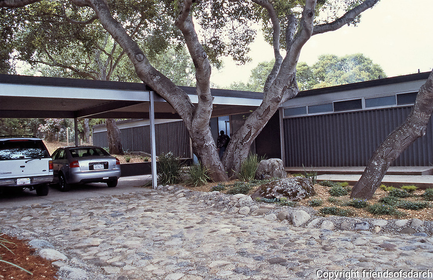 The Elizabeth and Cyrus Johnson House, 54 La Rancheria, Carmel Valley CA. 3800 square feet. 1962.   Sold to Cynthia and Fred Riebe who had Pierre Koenig do a 1990 restoration and carport addition. Photo 2000.