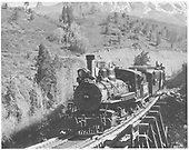 RGS 2-8-0 #74 with Rocky Club excursion train on Bridge 42-A.<br /> RGS  Keystone, CO  Taken by Kindig, Richard H. - 5/29/1949