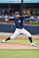 Asheville Tourists starting pitcher Alejandro Requena (15) delivers a pitch during a game against the Hickory Crawdads at McCormick Field on July 13, 2017 in Asheville, North Carolina. The Tourists defeated the Crawdads 9-4. (Tony Farlow/Four Seam Images)