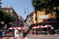 café, France, Aix-Les-Bains, Savoie, Rhone-Alpes, Europe, Outdoor cafes and shops in the spa resort town of Aix-les-Bains.