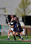 28 April 2012: University of Vermont Catamount midfielder Adison Rounds, a Senior from Centennial, CO, in action against the University at Albany Great Dames at Virtue Field in Burlington, Vermont. The Lady Danes defeated the Lady Cats 12-10 in America East Women's Lacrosse. Mandatory Credit: Ed Wolfstein Photo