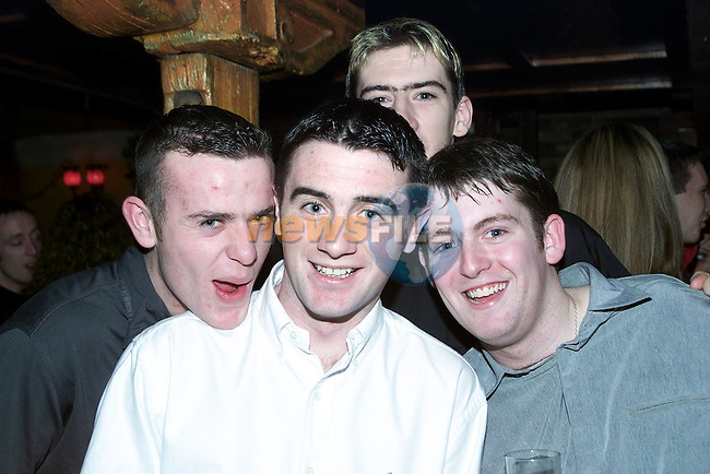 Anthony Moroney, Ballsgrove, Gavin Kelly, Rathmullen, David Briscoe, Rathmullen and Matthew Flanagan, Highfield ringing in the new Millenium in O'Shea's..Picture Paul Mohan Newsfile