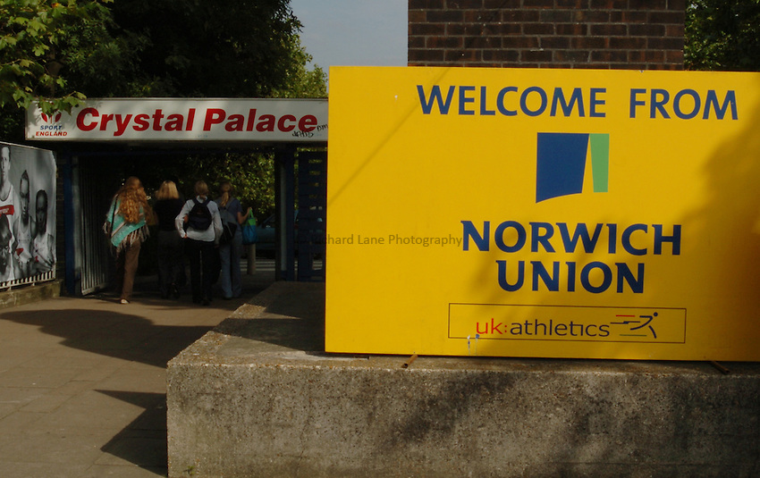 Photo. Henry Browne..Norwich Union London Grand Prix Athletics at Crystal Palace. 30/07/2004..The entrance to Crystal Palace Athletic stadium.