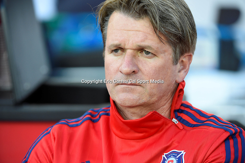 June 13, 2015 - Foxborough, Massachusetts, U.S. - Chicago Fire head coach Frank Yallop waits for the start of the MLS game between Chicago Fire and the New England Revolution held at Gillette Stadium in Foxborough Massachusetts. Eric Canha/CSM