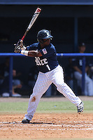 Shortstop Leon Byrd (1) of the Rice University Owls at bat against the Florida Atlantic Owls at FAU Baseball Stadium on May 10, 2015 in Boca Raton, Florida.  The Rice Owls defeated the FAU Owls 5-2.  (Stacy Jo Grant/Four Seam Images)