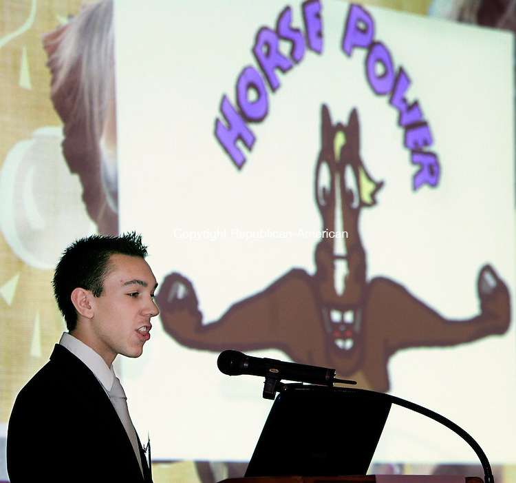 NEW HAVEN, CT. 25 May  2005--052505SV02--John Conigliaro of Wilby High presents his Ponies Plus business during the state DECD's 5th annual Statewide Business Plan Competition and Business Expo for Inner-City Youth Entrepreneurship at the New Haven Lawn Club in New Haven Wednesday.  Steven Valenti Photo