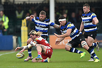 Richard Hibbard of Gloucester Rugby dives on the ball. Aviva Premiership match, between Bath Rugby and Gloucester Rugby on April 30, 2017 at the Recreation Ground in Bath, England. Photo by: Patrick Khachfe / Onside Images