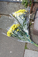 Pictured: Flowers left outside the house in Glynrhondda Street, Cardiff, where a woman was killed. Wednesday 01 May 2019<br /> Re: Police are investigating a murder following the death of a 21-year-old Lauren Griffiths.<br /> They were called to Glynrhondda Street in the Cathays area of in Cardiff, south Wales, following reports of an incident on Tuesday after 6pm.<br /> A 22-year-old man has been arrested in connection by South Wales Police.