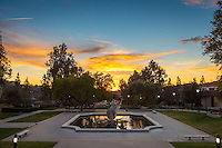 Sunset at the main entrance to Occidental College on Feb. 4, 2016 with the Lucille Y. Gilman Memorial Fountain in the foreground.<br />
