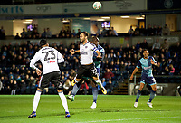 Adebayo Akinfenwa of Wycombe Wanderers wins the header from Michael Madl of Fulham during the Carabao Cup match between Wycombe Wanderers and Fulham at Adams Park, High Wycombe, England on 8 August 2017. Photo by Alan  Stanford / PRiME Media Images.