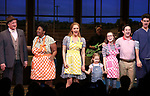 Steve Vinovich, NaTasha Yvette Williams, Katie Grober, Caitlin Houlahan, Christopher Fitzgerald and Drew Gehling with Katharine McPhee during her Broadway Debut Curtain Call in 'Waitress' at the Brooke Atkinson Theatre on April 10, 2018 in New York City.