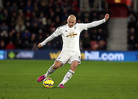 Pictured: Jonjo Shelvey of Swansea Sunday 01 February 2015<br /> Re: Premier League Southampton v Swansea City FC at ST Mary's Ground, Southampton, UK.