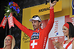 Swiss National Champion Fabian Cancellara (SUI) Team Saxo Bank wins the Prologue Stage 1 of the 2009 Tour de France a 15.5km individual time trial held around Monaco. 4th July 2009 (Photo by Eoin Clarke/NEWSFILE)