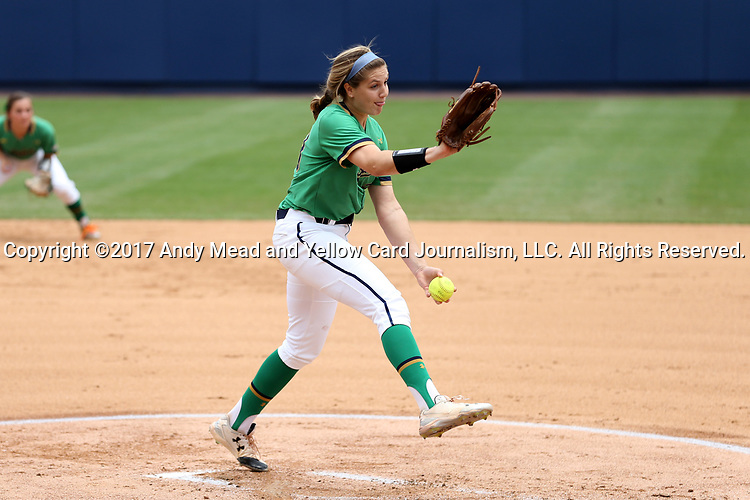 CHAPEL HILL, NC - MAY 11: Notre Dame's Katie Beriont. The #4 Boston College Eagles played the #5 University of Notre Dame Fighting Irish on May 11, 2017, at Anderson Softball Stadium in Chapel Hill, NC in a 2017 Atlantic Coast Conference Tournament Quarterfinal Softball game. Notre Dame won the game 9-5 in eight innings.