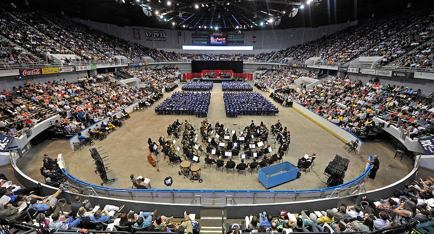 Crowd fills the seats of the Von Braun Center Propst Arena Tuesday evening May 22, 2012 during the Bob Jones High School graduation.