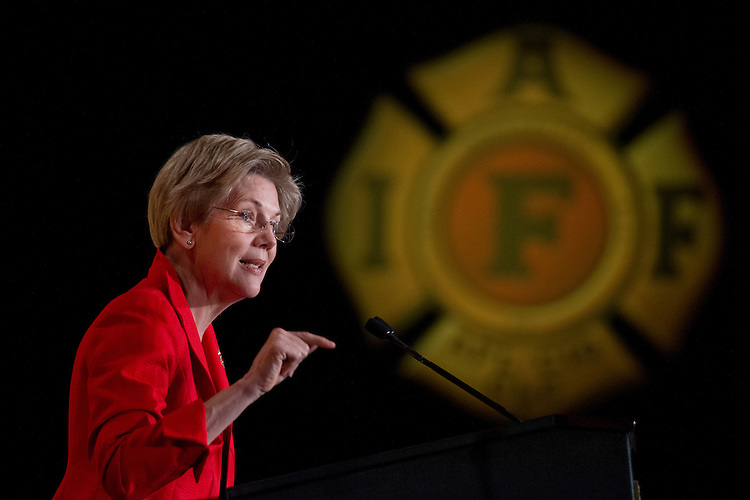 UNITED STATES - MARCH 09: Elizabeth Warren, D-Mass., speaks during the International Association of Fire Fighters Legislative Conference General Session at the Hyatt Regency on Capitol Hill, March 9, 2015. The day featured addresses by members of Congress and Vice President Joe Biden. (Photo By Tom Williams/CQ Roll Call)