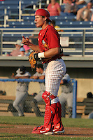 July 3, 2005:  Catcher Lou Marson of the Batavia Muckdogs during a game at Dwyer Stadium in Batavia, NY.  The Muckdogs are the Short Season Class-A affiliate of the Philadelphia Phillies.  Photo By Mike Janes/Four Seam Images