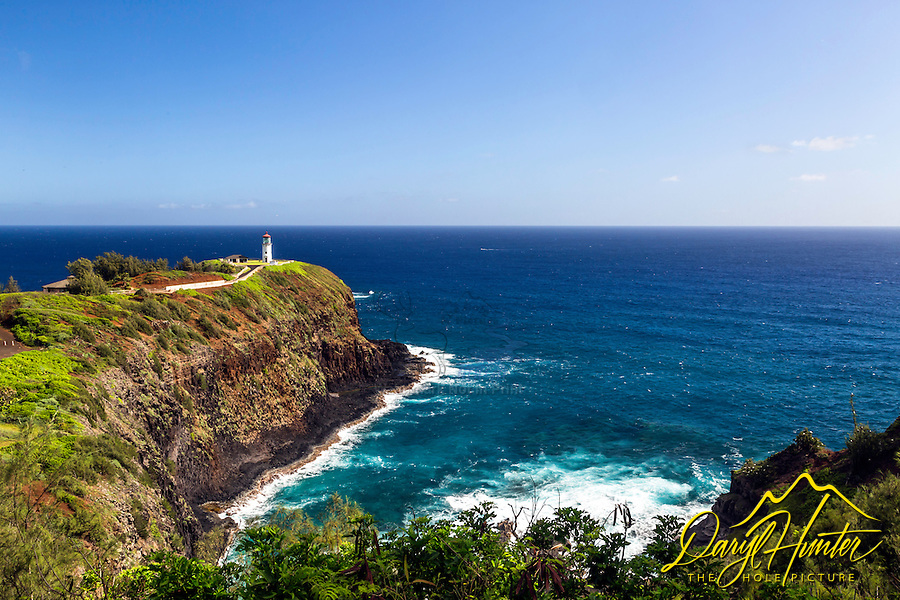 A bluebird day at Kilauea Lighthouse on the island of Kauai, Hawaii