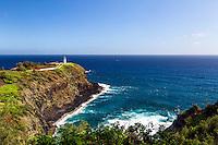 A bluebird day at Kilauea Lighthouse on the island of Kauai, Hawaii
