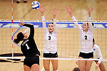 03 DEC 2011:  Kayla Koenecke (3) and Cassie Haag (2) of Concordia University St. Paul jump for a block against Cal State San Bernardino during the Division II Women's Volleyball Championship held at Coussoulis Arena on the Cal State San Bernardino campus in San Bernardino, Ca. Concordia St. Paul defeated Cal State San Bernardino 3-0 to win the national title. Matt Brown/ NCAA Photos