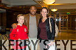 Bridget Moore and Conor Costello from Abbeydorney with John Barnes at the Kerry Liverpool Supporters Club, an Evening with LFC Legend John Barnes at the Brandon Hotel on Friday