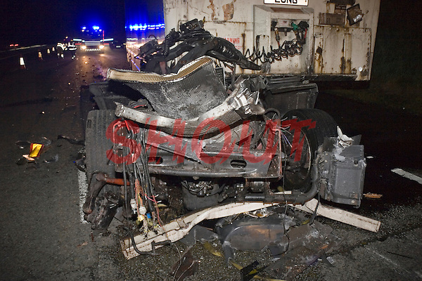 Road Traffic Accident on the motorway involving two heavy goods vehicles. The cab of one of the lorries has been thrown some 100 metres down the motorway. This image may only be used to portray the subject in a positive manner..©shoutpictures.com..john@shoutpictures.com