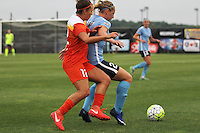 Piscataway, NJ - Saturday July 09, 2016: Amber Brooks, Leah Galton during a regular season National Women's Soccer League (NWSL) match between Sky Blue FC and the Houston Dash at Yurcak Field.