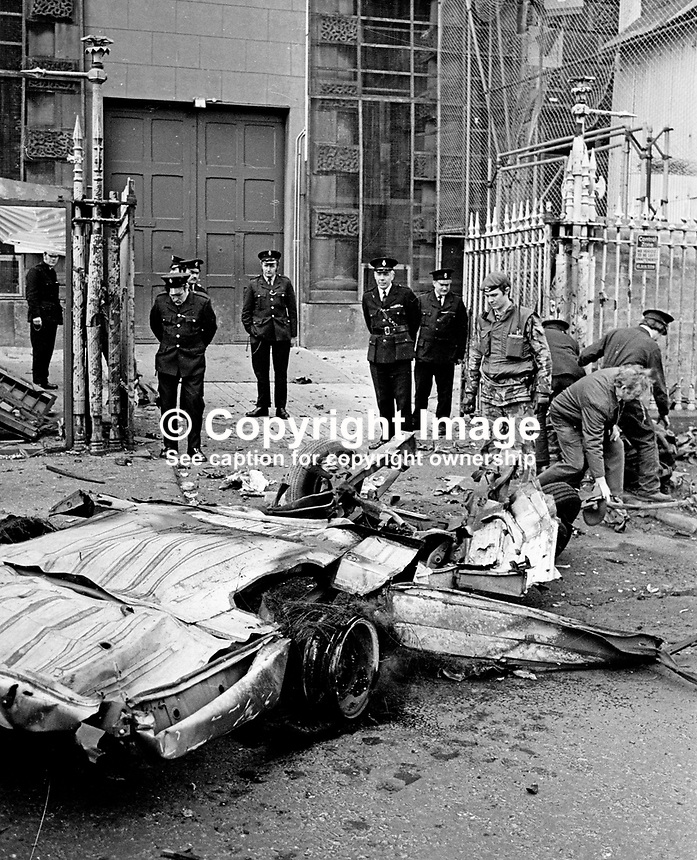 Scene of  explosion outside gates of Crumlin Road Prison, Belfast, N Ireland, UK.  The bomb, believed to around 100 lbs of explosive, was in a hijacked delivery van.197703140163b.<br />