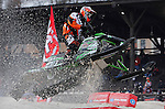 DEADWOOD, SD - FEBRUARY 1, 2013:  Pro Open Racer Logan Christian of Christian Brothers Racing flies down the course during practice laps at the the ISOC Amsoil Deadwood Snocross event Friday at the Days of 76 Rodeo Grounds in Deadwood, S.D.   (Photo by Richard Carlson/dakotapress.org)