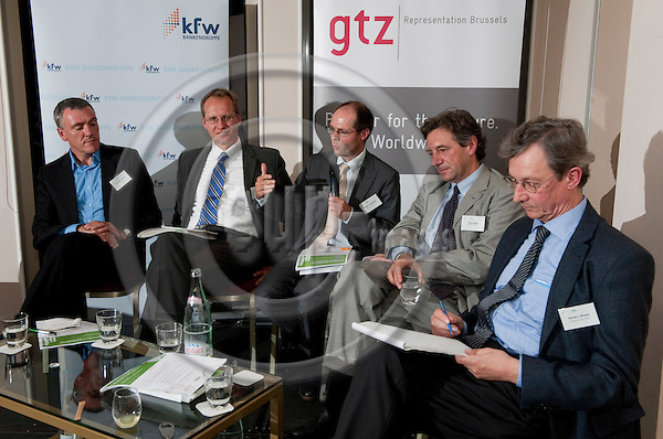 Brussels-Belgium - September 14, 2010 -- 'Food Security, Food Production and the Role of Agro-Biodiversity' - a panel discussion organized by GTZ (Deutsche Gesellschaft fuer Technische Zusammenarbeit / German Technical Cooperation) and KfW Bankengruppe / Entwicklungsbank (Kreditanstalt fuer Wiederaufbau); from left to right, 1-5: 1- Christian HENCKES, Head of Section for Agriculture and Food (GTZ); 2- Peter HILLIGES, Head of Unit for Agriculture and Natural Resources Management, KfW Entwicklungsbank; 3- Olivier De SCHUTTER, Professor and UN (United Nations) Special Rapporteur on the Right to Food; 4- Philip MIKOS, Head of Unit for Sustainable Management of Natural Resources, European Commission;  5- Harald von WITZKE, Professor and Chair for International Agricultural Trade and Development, Humboldt-University of Berlin -- Photo: Horst Wagner / eup-images