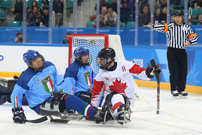 Pyeongchang, Korea, 11/3/2018-Tyler McGregor of Canada plays Italy in hockey during the 2018 Paralympic Games in PyeongChang. Photo Scott Grant/Canadian Paralympic Committee.