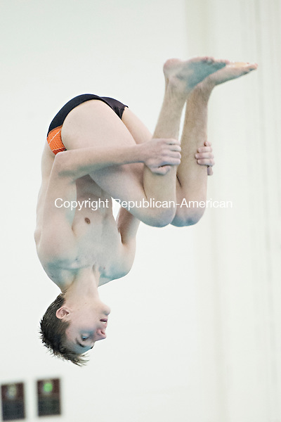 WATERTOWN, CT - 22 December 2015-122215EC06--  Watertown's Peter Doback performs a dive against Holy Cross Tuesday night. Erin Covey Republican-American.