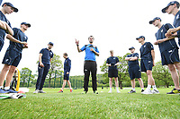 Picture by SWpix.com - 09/052018 Yorkshire Cricket College first ever game v Woodhouse grove School, Apperley Bridge, Bradford - team members and players of take to field for The Yorkshire Cricket College first ever game v Woodhouse Grove School<br /> Coach &ndash; David Foster
