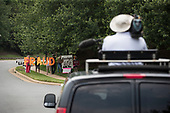 Protesters gather outside of Trump National Golf Course in Sterling, Virginia as United States President Donald J. Trump plays a round of golf Sunday June 2, 2019. <br /> Credit: Sarah Silbiger / Pool via CNP
