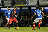 Blackburn Rovers' Adam Armstrong challenges Portsmouth's Nathan Thompson <br /> <br /> Photographer Andrew Kearns/CameraSport<br /> <br /> The EFL Sky Bet League One - Portsmouth v Blackburn Rovers - Tuesday 13th February 2018 - Fratton Park - Portsmouth<br /> <br /> World Copyright &copy; 2018 CameraSport. All rights reserved. 43 Linden Ave. Countesthorpe. Leicester. England. LE8 5PG - Tel: +44 (0) 116 277 4147 - admin@camerasport.com - www.camerasport.com