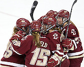 Jackie Young (BC - 25), Emily Field (BC - 15), Dru Burns (BC - 7), Alex Carpenter (BC - 5), Danielle Welch (BC - 17) - The visiting University of Maine Black Bears defeated the Boston College Eagles 5-2 on Sunday, October 30, 2011, at Kelley Rink in Conte Forum in Chestnut Hill, Massachusetts.