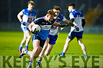 Aaron McCarthy from I T Tralee been forced to go around Cormac Howley of DIT in the Sigerson Cup Quarter final game in Austin Stack Park, Tralee on Tuesday night last