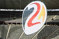 Banner zur EM 2024 Bewerbung des DFB - 26.03.2018: Abschlusstraining der Deutschen Nationalmannschaft, Olympiastadion Berlin