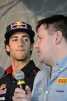 MELBOURNE, 15 March - Pirelli Motorsport Director Paul Hembery and Daniel Ricciardo of the Scuderia Toro Rosso Team at the Pirelli Media Briefing at the Rialto Building, 525 Collins Street ahead of the the 2012 Formula One Australian Grand Prix at the Albert Park Circuit in Melbourne, Australia. (Photo Sydney Low / syd-low.com)