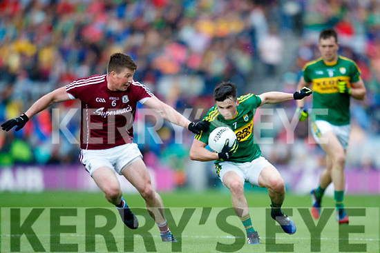 Paul Murphy Kerry in action against Gareth Bradshaw Galway in the All Ireland Senior Football Quarter Final at Croke Park on Sunday.