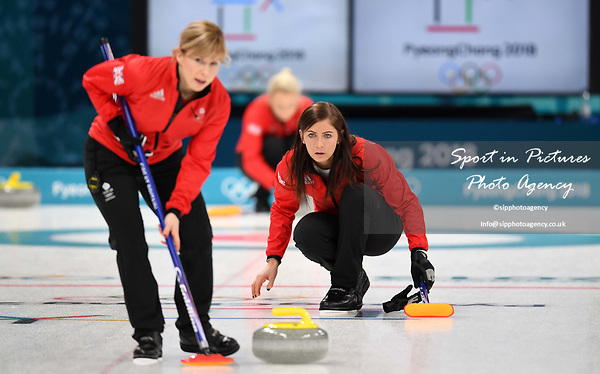 Kelly Schafer (GBR) and Eve Muirhead (GBR, skip). Womens Curling training. Pyeongchang2018 winter Olympics Gangneung curling centre. Gangneung. Republic of Korea. 12/02/2018. ~ MANDATORY CREDIT Garry Bowden/SIPPA - NO UNAUTHORISED USE - +44 7837 394578